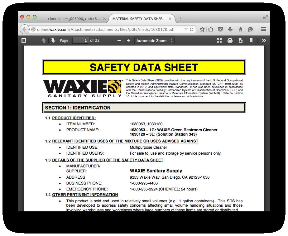 Safety Data Sheets | WAXIE Sanitary Supply